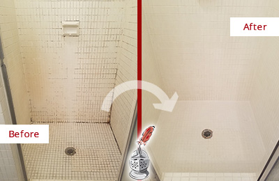 Before and After Picture of a Williams Crossroads Bathroom Grout Sealed to Remove Mold