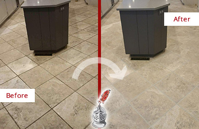 Before and After Picture of a Williams Crossroads Kitchen Floor Grout Sealed to Remove Stains