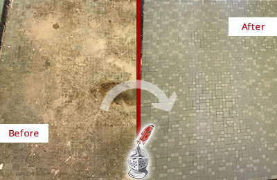 Before and After Picture of a Wendell Mosaic Shower Cleaned to Eliminate Embedded Dirt