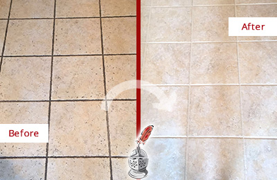 Before and After Picture of a Wendell Ceramic Floor Cleaned to Remove Soil